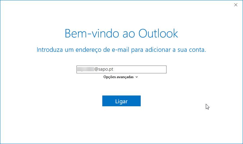Outlook2016 email sapo adicionar conta