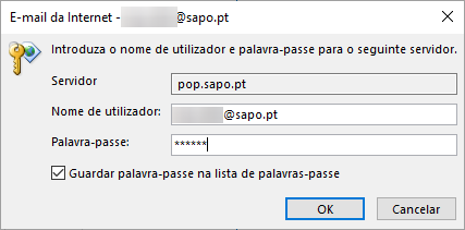 Outlook2016 email sapo pop inserir palavra passe