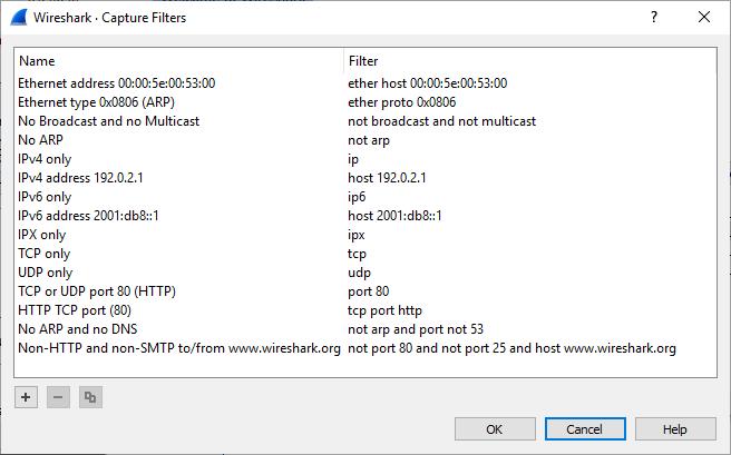wireshark filtros de captura exemplos