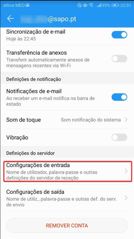 android sapo configurações de entrada