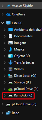 ram disk discos montados Windows explorer