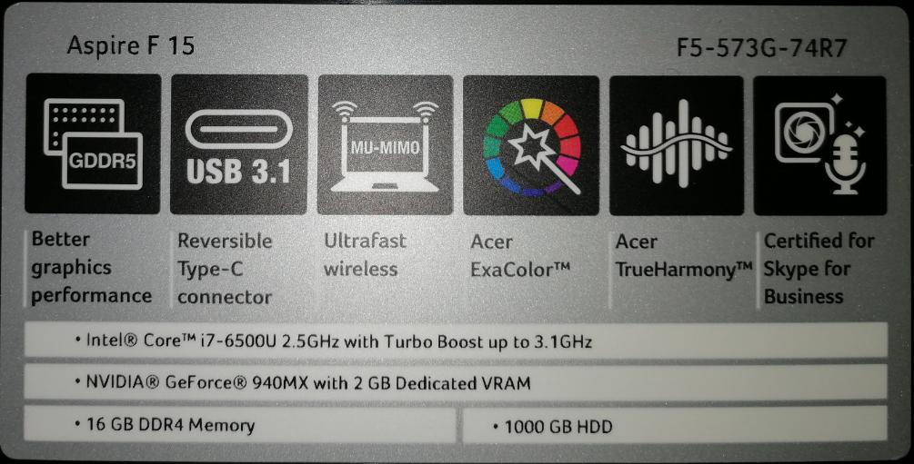 Acer Aspire F15 F5 573G 74R7 caracteristicas