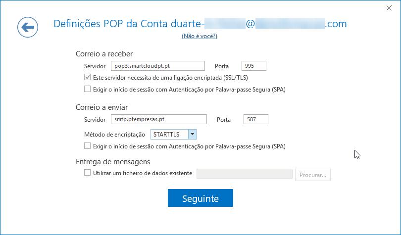 Outlook O365 definições POP email Cloud PTEmpresas