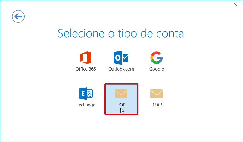 Outlook O365 tipo de conta POP