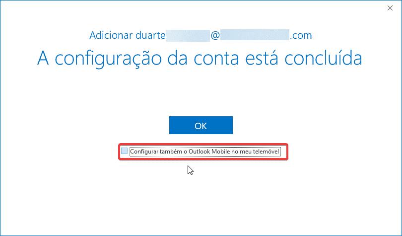 Outlook Office 365 mapi ptempresas configuração concluída