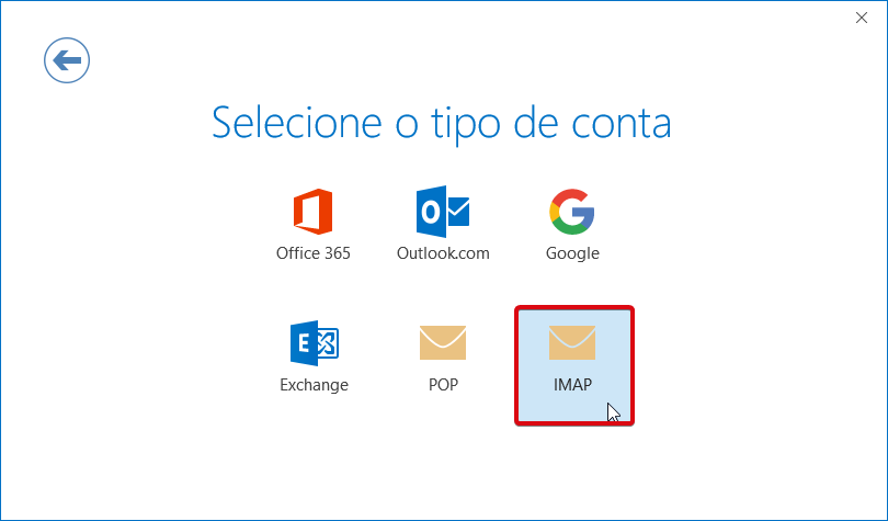 Outlook office 365 ptempresas tipo de conta imap