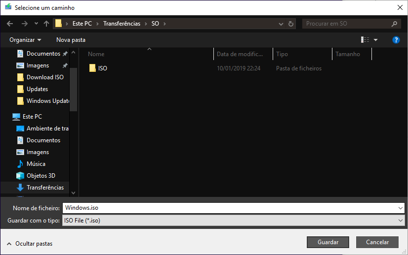 Windows 10 - Selecionar Localização para guardar ISO