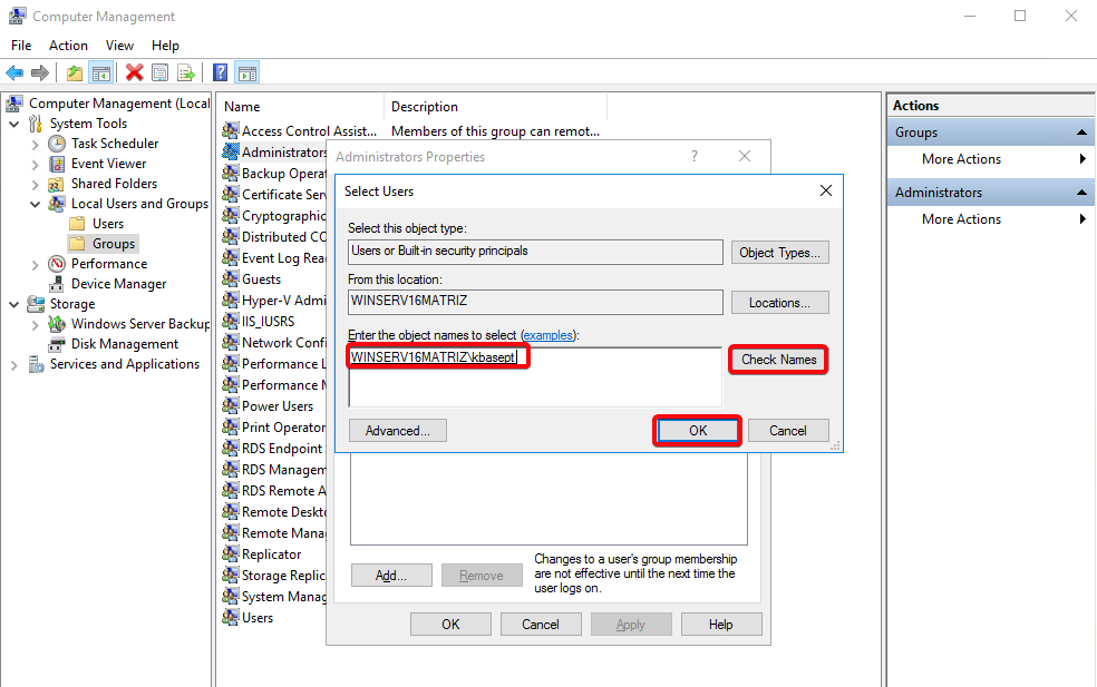 Windows Server 2016 - Groups - Adminstrators-add-user
