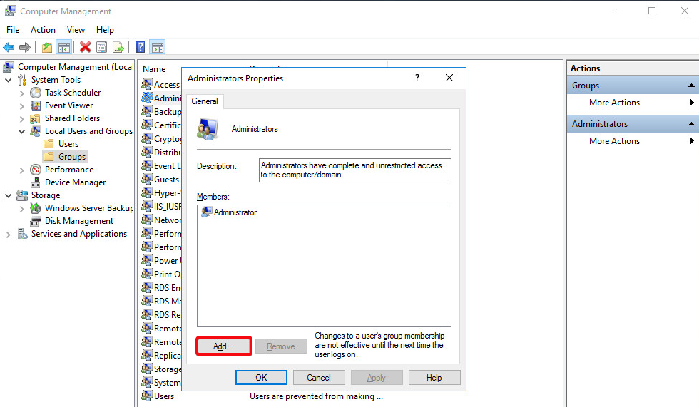 Windows Server 2016 - Groups - Adminstrators-add