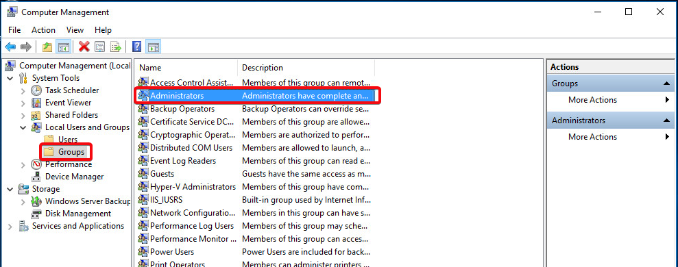 Windows Server 2016 - Groups - Adminstrators