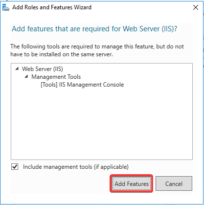 Windows Server IIS - Instalar IIS 10 - Add features Required