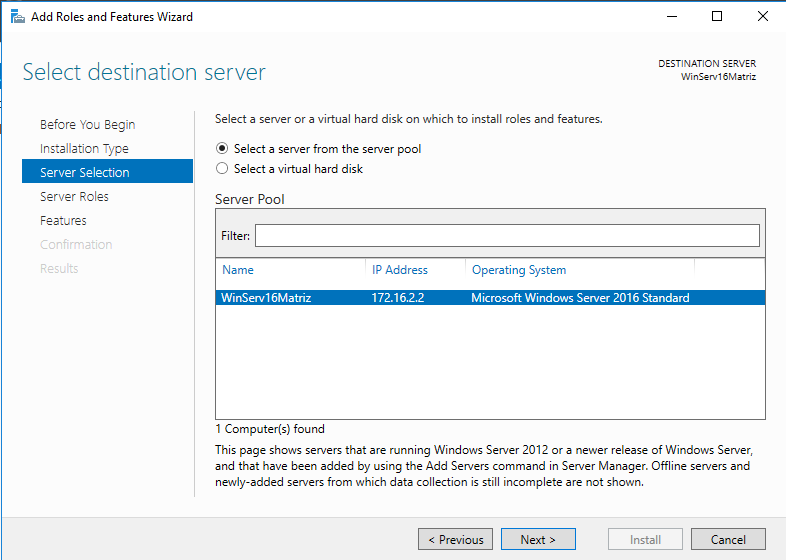 Windows Server IIS - Instalar IIS 10 - destination server
