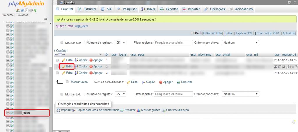Clique em _users para visualizar os utilizadores criados no wordpress