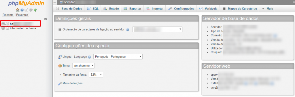 Expandir os elementos da base de dados MySQL no phpMyAdmin