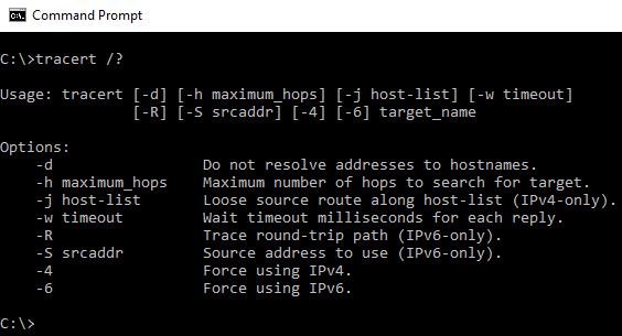 Sintaxe do comando tracert