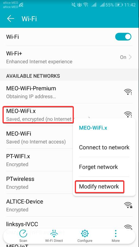 Android MEO-WiFi.x Modificar Rede