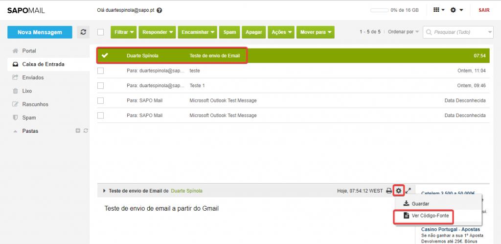 cabeçalho email sapo mail consulta