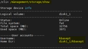 Fibergateway meo GR241AG criar armazenamento via telnet